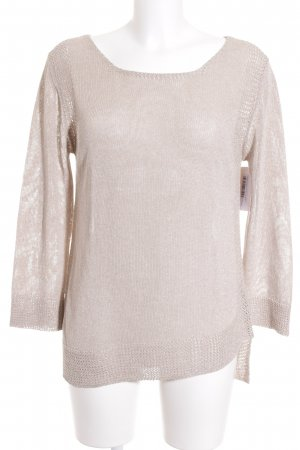 Massimo Dutti Strickpullover beige Metallic-Optik