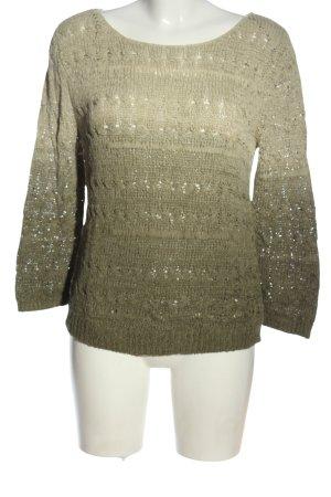 Massimo Dutti Strickpullover khaki-wollweiß Farbverlauf Casual-Look