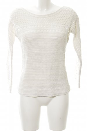 Massimo Dutti Strickpullover weiß Zopfmuster Casual-Look