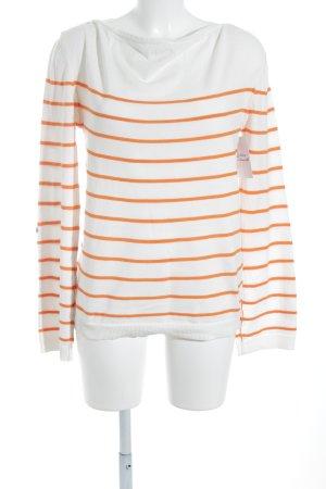 Massimo Dutti Sweatshirt weiß-dunkelorange Streifenmuster Casual-Look
