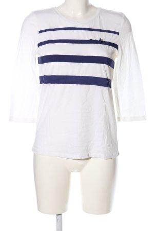 Massimo Dutti T-Shirt weiß-blau Streifenmuster Casual-Look