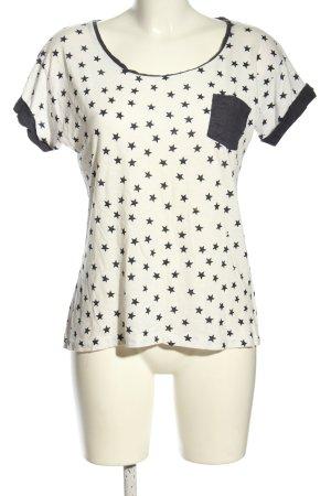 Massimo Dutti T-Shirt wollweiß-schwarz Allover-Druck Casual-Look