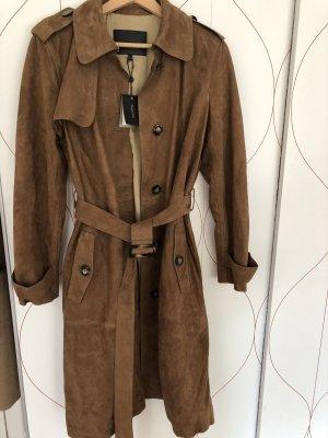 Massimo Dutti Abrigo de cuero marrón Cuero