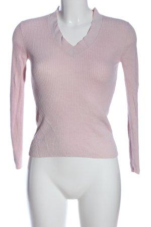 Massimo Dutti V-Ausschnitt-Pullover pink Streifenmuster Casual-Look