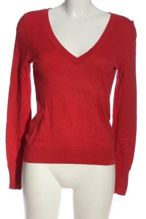Massimo Dutti V-Ausschnitt-Pullover rot Casual-Look