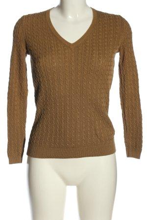 Massimo Dutti V-Ausschnitt-Pullover braun Casual-Look