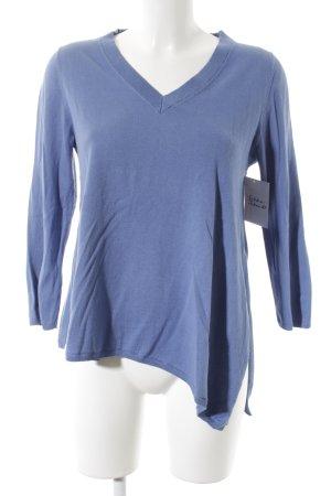 Massimo Dutti V-Ausschnitt-Pullover blau schlichter Stil