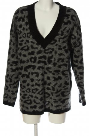 Massimo Dutti V-Ausschnitt-Pullover hellgrau-schwarz Allover-Druck Casual-Look
