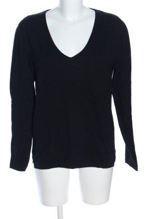 Massimo Dutti V-Ausschnitt-Pullover schwarz Casual-Look
