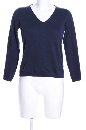 Massimo Dutti V-Ausschnitt-Pullover blau Business-Look