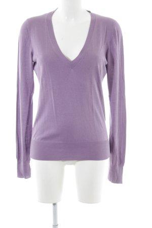 Massimo Dutti V-Ausschnitt-Pullover lila Casual-Look