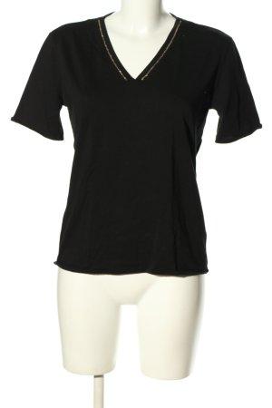 Massimo Dutti V-Ausschnitt-Shirt schwarz Casual-Look