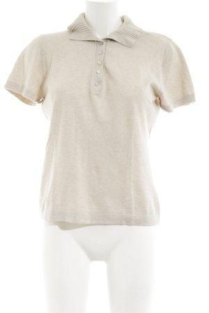 Massimo Dutti V-Ausschnitt-Shirt creme meliert Casual-Look