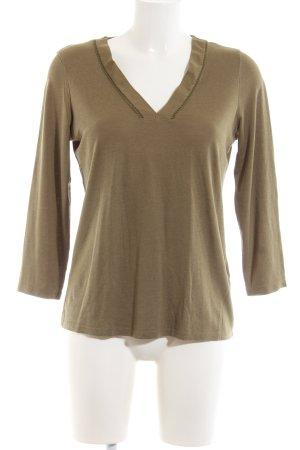 Massimo Dutti V-Ausschnitt-Shirt khaki meliert Casual-Look