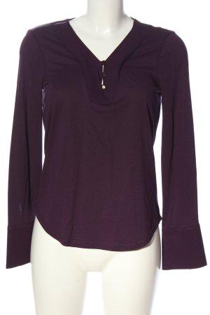 Massimo Dutti V-Ausschnitt-Shirt lila Casual-Look