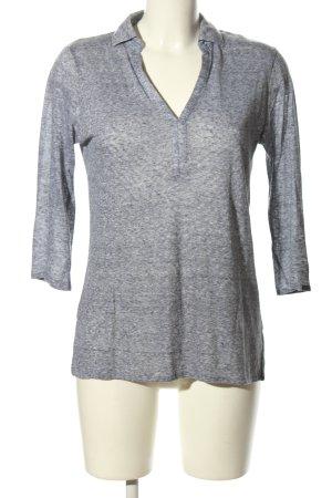 Massimo Dutti V-Ausschnitt-Shirt hellgrau meliert Business-Look