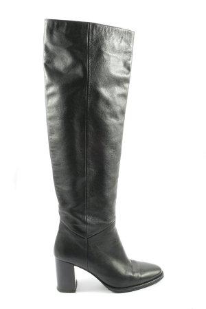 Massimo Dutti Wide Calf Boots black business style