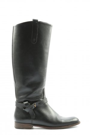 Massimo Dutti Wide Calf Boots black themed print casual look