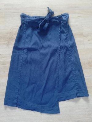 Massimo Dutti Wraparound Skirt steel blue