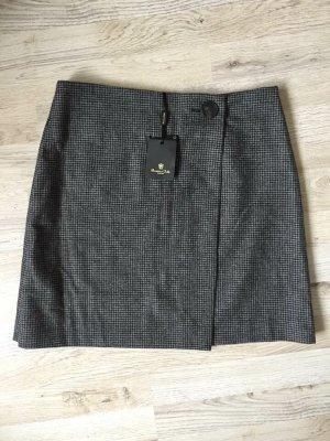 Massimo Dutti Wraparound Skirt black-dark grey wool