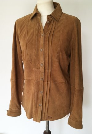 Massimo Dutti Leather Shirt brown suede