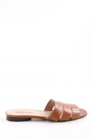 Massimo Dutti High-Heeled Toe-Post Sandals brown business style