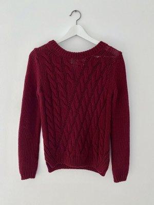 Massimo Dutti Warkoczowy sweter bordo Bawełna