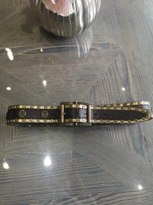 Cinturón de cuero color oro-marrón