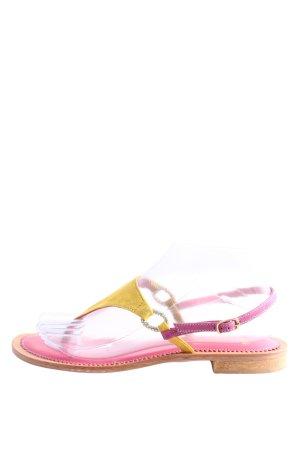MastroDomenico Sandalo Dianette rosa-giallo pallido stile casual
