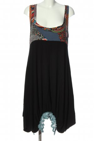 mat. High Low Dress black-red mixed pattern casual look
