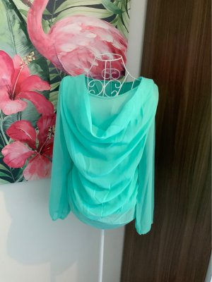 Cowl-Neck Shirt turquoise