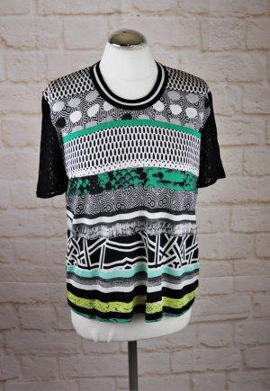 Materialmix Shirt Tshirt Top Gerry Weber Größe Größe 40 Schwarz Weiß Grün Gelb Spitze Galon Band Sportlich