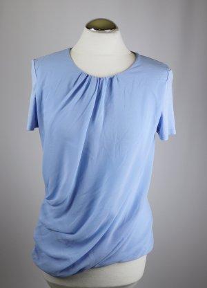 Materialmix Shirt Volant Drappe` DKNYC Größe M 38 Hellblau Viskose Chiffon Wasserfall Rundhals