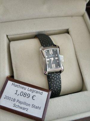 Horloge met lederen riempje zwart-zilver