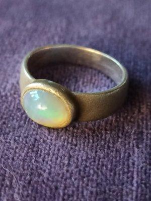 Mattierter Silber Ring mit echtem Mondstein