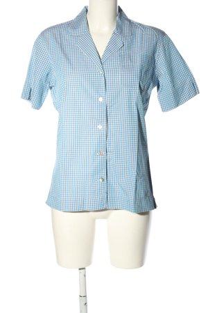 Mattina Camicetta a maniche corte blu-bianco motivo a quadri stile casual