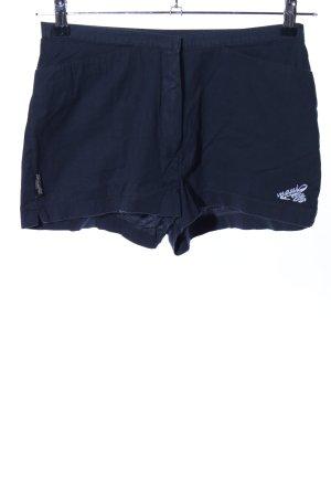 Maui Wowie Hot Pants blau-weiß Schriftzug gestickt Casual-Look