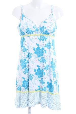 Maui Wowie Trägerkleid weiß-blau Blumenmuster Elegant