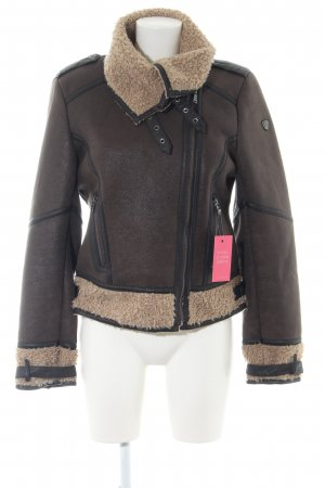 Mauritius Faux Leather Jacket brown-cream casual look
