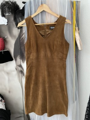 Mauritius Leather Dress brown-camel leather