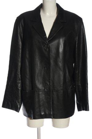 Mauritius Skórzany płaszcz czarny W stylu casual