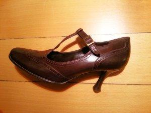 Zapatos de tacón con barra en T marrón-marrón oscuro Cuero