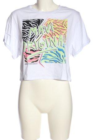 Mavi Cropped Shirt Motivdruck Casual-Look