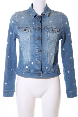 Mavi Jeans Co. Jeansjacke blau-weiß grafisches Muster Casual-Look