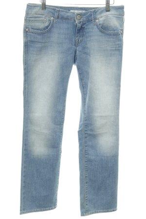 Mavi Jeans Co. Jeansy z prostymi nogawkami błękitny Logo wykonane ze skóry