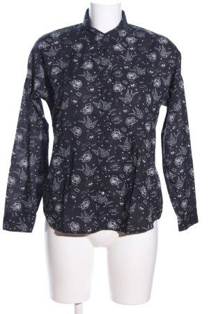 Mavi Langarm-Bluse schwarz-weiß Allover-Druck Casual-Look