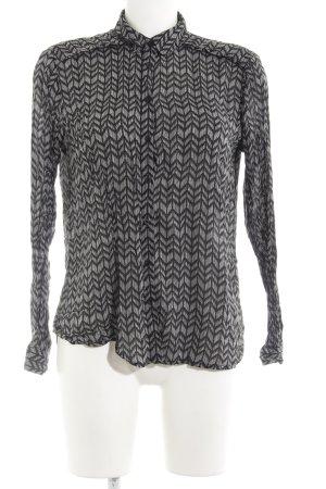 Mavi Langarm-Bluse schwarz-weiß abstraktes Muster Casual-Look