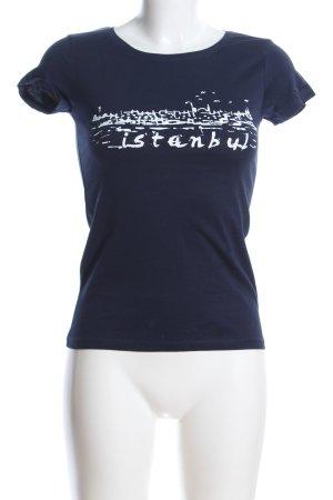 Mavi Print-Shirt blau-weiß Motivdruck Casual-Look