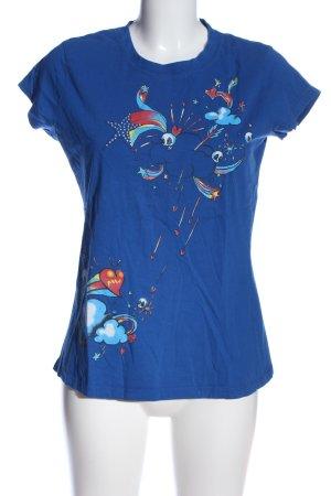 Mavi Print-Shirt blau-rot Motivdruck Casual-Look