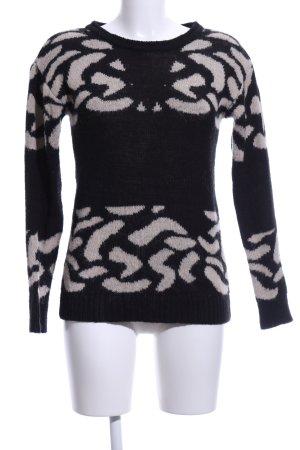 Mavi Rundhalspullover schwarz-wollweiß abstraktes Muster Casual-Look